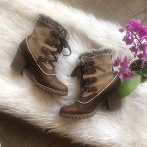 Sketchers Brown Duck Ankle Boots Faux Fur 9